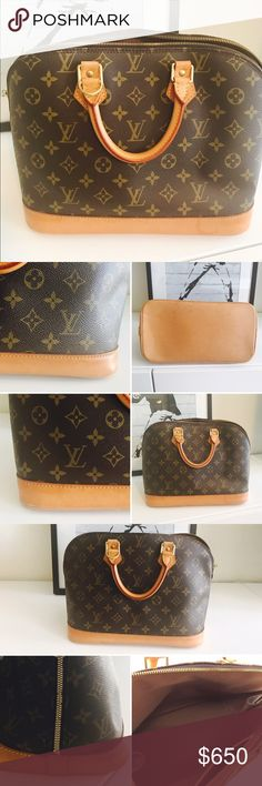 Authentic LV alma.‼️NO TRADES OPEN TO OFFERS🅿️🅿️ In absolutely excellent pre-owned  conditions.  The leather shows a nice light tan patina. Exterior: monograma canvas is in excellent conditions without no issues. Hardware: still showing nice gold color with just some minimal wear tarnish. Zipper & zipper pulls are in great working conditions. In side : is like new, perfect conditions,(I always use a purse organizer to keep it clean ) . The corners are perfect, overall no dirty spots. Very…