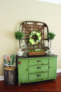 Summer Console Table with Tobacco Basket and Succulents