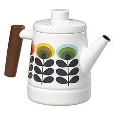 Orla Kiely 70er Ovale Multi-Emaille-Teekanne, mehrfarbig.