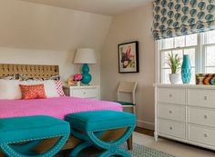 House of Turquoise: Katie Rosenfeld Interior Design - This turquoise, hot pink and orange bedroom is balanced by plenty of white.