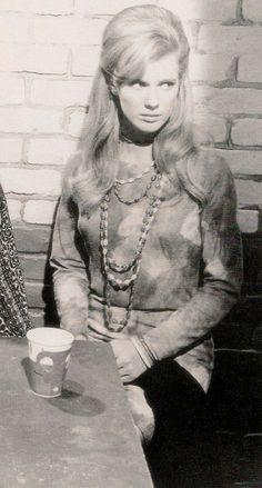 Beatnik 1960. beaded necklaces, print sweater