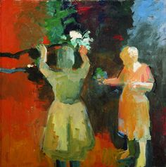 "Elmer Bischoff (1916-1991)  ""Two Women in Vermillion Light,"" 1959  Oil on canvas  67 1/2 x 67 1/2 inches"