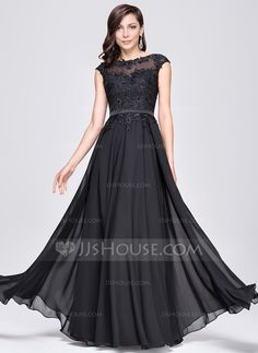 A-Line/Princess Scoop Neck Floor-Length Chiffon Evening Dress With Beading Appliques Lace Sequins (017064185) - JJsHouse