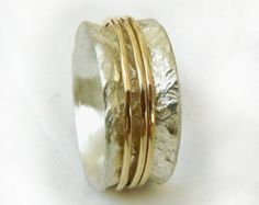 Chunky spinner ring, three gold spinners, rotating ring, spring wedding, semiwide women's ring, textured sterling, Ilan Amir