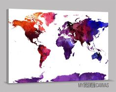 Watercolor world map mounted canvas wall art multiple color purple predominated colorful world map canvas print watercolor view world map canvas printing large gumiabroncs Images