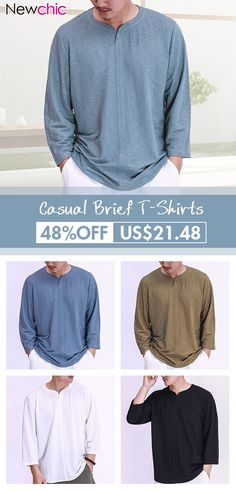 194be8156f06 Mens Vintage Chinese Style Cotton Solid Color O-neck Casual Loose T Shirts  is fashion and stylish