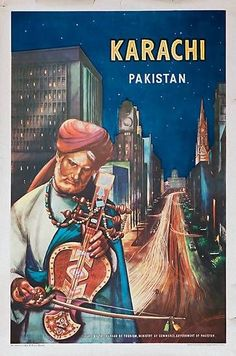 Karachi, Pakistan, old travel poster