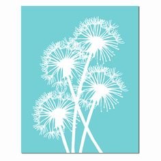 Dandelion Group - 11x14 Modern Floral Print - Nursery Art - Decor - Choose Your Colors - Shown in Aqua, Yellow, Light Pink, and More on Etsy, $25.00