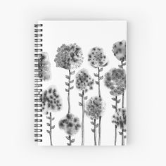 'Ink Flowers' Spiral Notebook by PounceBoxArt Canvas Prints, Art Prints, Notebooks, Spiral, My Arts, Ink, Printed, Awesome, People
