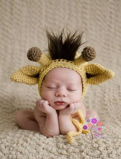 Crochet Newborn Giraffe Hat - Newborn Giraffe Bonnet - Real looking Giraffe  Bonnet - Faux Fur on Etsy, $34.95