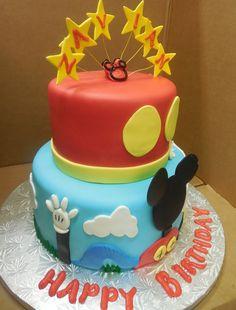 Calumet Bakery  Mickey Club House Two Tier Fondant Cake