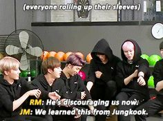 Jungkook taught his hyungs how to do it yes >v>