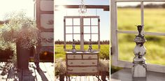 A quirky collection of decor with a window frame and chandelier - for a stunning ceremony backdrop