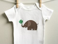 Of course Roman will have this!!!!St Patricks Day baby onesie elephant and by squarepaisleydesign, $14.00