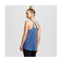 C9 Champion Women's Featherweight Tank ($13) ❤ liked on Polyvore featuring activewear, activewear tops, sea bottom blue, blue shirt, racerback shirt, wicking shirt, strappy cami and blue camisole