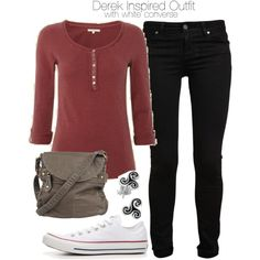 """Derek Inspired Outfit with White Converse"" by veterization on Polyvore"