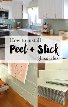 Yes you read that right! Today I am going to show you how we installed peel and stick glass tiles. When I was in Georgia last summer I saw a demo from Aspect Tile and I could not believe that they had peel and stick glass tiles. I knew this was exactly what I wanted to do in my kitchen renov