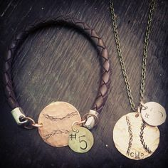 Hand stamped baseball necklace & bracelet set. Find this and more at Treasured Trinkets on Facebook!