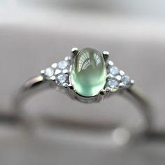2017 New Simple Design 925 Silver Prehnite Promise Ring [100742] - $73.00 : jewelsin.com