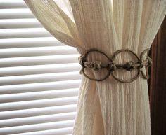 Handmade Natural Thick Hemp Adjustable Curtain Tie Back, Square Diamond Knots, Shabby Burlap Curtain Holdback Country Cottage Beach House