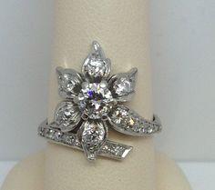 ANTIQUE LADIES PLATINUM W 14K WHITE GOLD FLOWER DIAMOND RING 1 CARAT SIZE 7.5