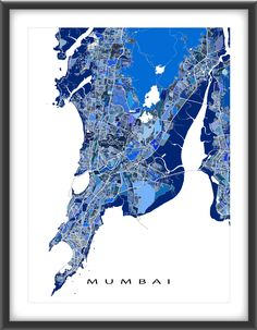 This Mumbai, #India city #map has a modern #design made from many little blue shapes. Each shape is actually a city block or a piece of land that combines with city streets - like a puzzle or mosaic - to form this #Mumbai print.