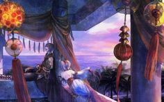 Music and wind - cloud, sky, couple, blue, light, red, music, tender, dolce far niente, manga, ocean, art, anime, guitar, exotic, evening, nature, moment, tree, wind, pink, lantern, love, sea, painting