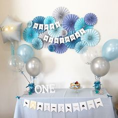 Blue Party Decorations For Girls 61 Top Ideas 1st Birthday Girl Decorations, Happy Birthday Decor, Blue Party Decorations, Diy Birthday Banner, Baby Shower Decorations, Mickey First Birthday, 1st Birthday Girls, Birthday Parties, Party Garland