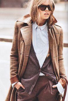 Tweed + layered ensemble.