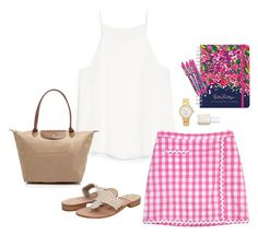 """""""back to school"""" by kcunningham1 ❤ liked on Polyvore featuring moda, MANGO, Lilly Pulitzer, Essie, Longchamp, Kate Spade, Jack Rogers y backtoschooltag"""