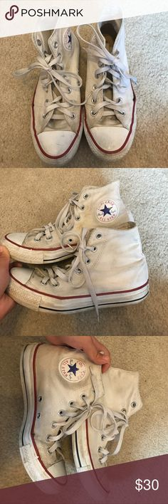 White high top converse Used white high top converse. Still have a lot of life left it is in good condition just dirty but can probably be scrubbed. Converse Shoes Sneakers