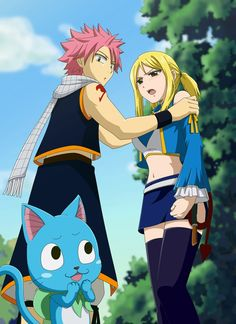 "Natsu has his hands on Lucy shoulders while Happy whisper ""He liiiiiiiikkkes her"" while giggling"