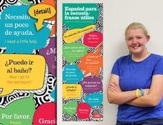 School Phrases Skinny Poster Spanish