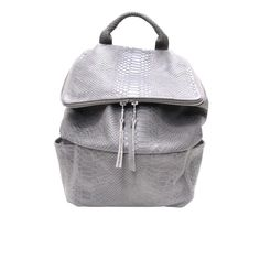 Python Embossed Leather Grey Backpack 'SQUARE' | DAPHNY RAES