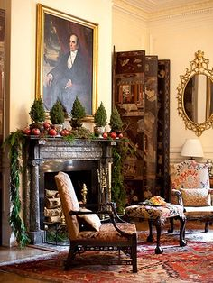 The curious Mr. Bumblebee ~ formal English cottage living room, decorated for the holidays