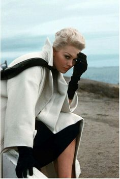 "Kim Novak in the film ""Vertigo"". Costume design by Edith Head. Released in 1958 but production in SF was during 1957."