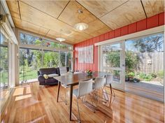 Plywood ceiling (I wouldn't do timber floor - or would For kids rooms whitewash timber floor) Patio Ceiling Ideas, Home Ceiling, Porch Ceiling, Led Ceiling, Patio Ideas, Plywood Ceiling, Wood Ceilings, Octagon House, Backyards