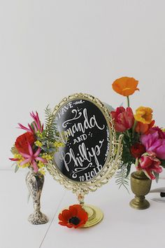 Calligraphy on mirror   Milou + Olin Photography   see more on: http://burnettsboards.com/2014/06/anthropologie-j-crew-wedding-style/