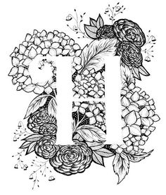 Letter H print – Alphabet, Calligraphy, Typography, Monogram, Flowers – Black and White ink art print Buchstabe H Druck Alphabet Kalligraphie Typografie Lettering Design, Hand Lettering, Calligraphy Letters, Calligraphy Flowers, Black And White Drawing, Black Art, Letter Art, Letter Monogram, Alphabet Art