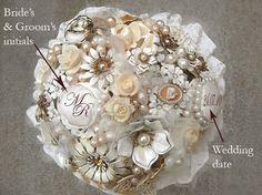 vintage brooch bouquets | CREAMY EDEN - personalised vintage brooch bouquet