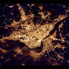 Cities at night from space: Montreal, QC Canada. Montreal Ville, Of Montreal, Voyage Canada, Quebec City, City Maps, Night City, Best Cities, Beautiful Islands, Aerial View