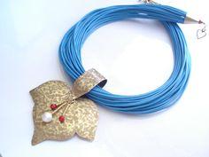 Hammered Bronze Leaf Multi Strand Blue Linen Necklace Handmade Antique Faced Necklace Metalwork Modern Statement Necklace