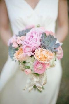 vintage pink succulents bouquet bridal