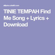 TINIE TEMPAH Find Me Song + Lyrics + Download
