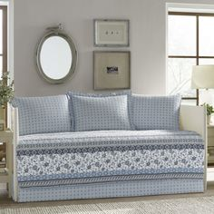 Decorate your room or guest room with the Bexley Daybed Set from Stone Cottage. Made from cotton, the five-piece bedding set includes a matching cover and shams in a blue, white and gray print to help you create a comfortable and calming place to relax. Daybed Cover Sets, Daybed Sets, Shabby, Ruffle Bedding, Blue Quilts, Decorate Your Room, Quilt Sets, Comforter Sets, Blue And White