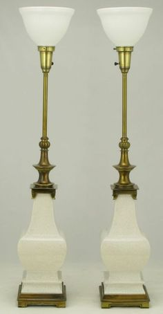 pair stiffel white crackle glazed ceramic u0026 brass table lamps - Modern Table Lamp