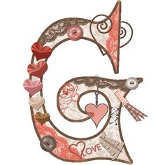 CH.B *✿* Alfabeto de San Valentin.... Letter G, Joy And Happiness, My Memory, Letters And Numbers, Valentino, Popular, Art, Alphabet, Tela