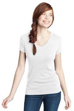 Buy the District - Juniors 1x1 Rib V-Neck Tee Style DT234V from SweatShirtStation.com, on sale now for $9.98 #bright #white #tshirt #rib #vneck