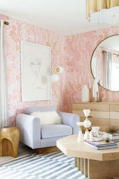 Suite Dreams: Sarah Sherman Samuel Guest Suite featuring The Cartorialist art at Kelly Golightly's home. Pink Bedroom Design, Bedroom Decor, Calm Bedroom, Nursery Design, Decoration Inspiration, Interior Inspiration, Sweet Home, Home Trends, Home And Deco