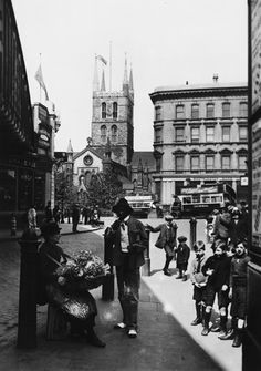 Southwark Cathedral from Borough High Street, c 1925